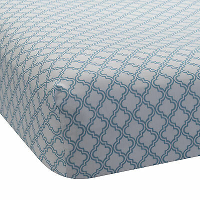 Lambs & Ivy Ryan Collection Fitted Sheet - Lattice Teal