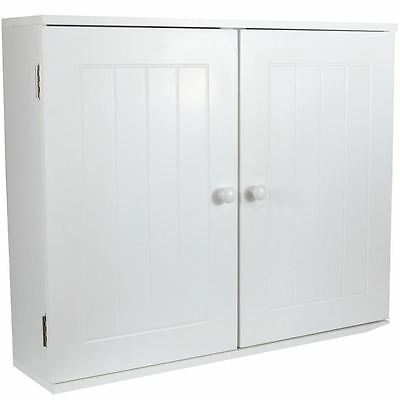 White Storage Unit Wall Cabinet Cupboard Wooden Grooming Wash Items Bath Room
