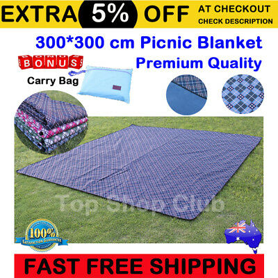 3X3m Extra Large Premium Waterproof Picnic Blanket Rug Mat Outdoor Camping Beach