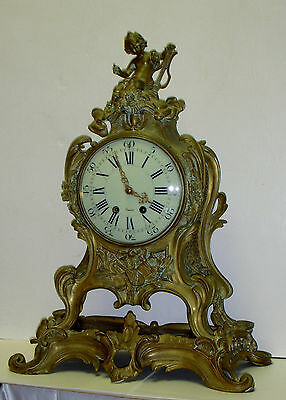ANTIQUE S MARTI et FIL BRONZE ROCOCO 8 DAY CHIME CLOCK ON BASE FRANCE WORKING