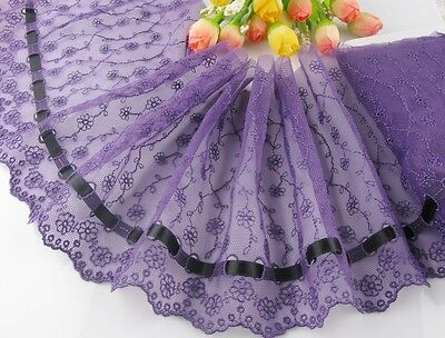 "6""*1yard delicate purple  embroidered flower tulle lace trim with black ribbon"