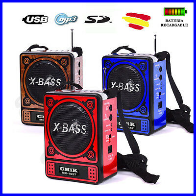 ALTAVOZ Portatil  FM RADIO + USB MP3 SD con LINTERNA, BATERIA recargable