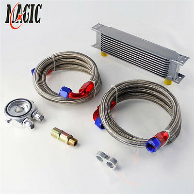 10 Row An-10An Universal Engine Transmission Oil Cooler+ Filter Kit Silver