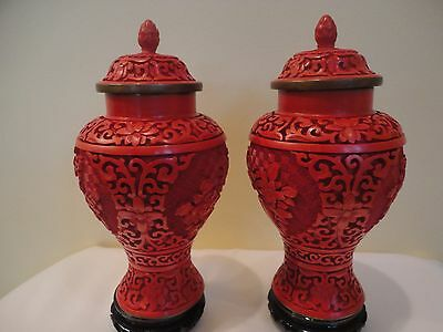 Chinese Pair Lidded Deeply Carved Cinnabar Lacquer Vase Jar W Carved Wood Stand