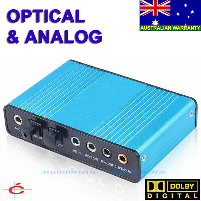 USB Optical & Analog Sound Card 5.1 Channel SPDIF DOLBY DAC Audio for PC Laptop