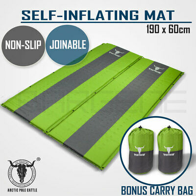 2 x Self Inflating Mattress Sleeping Mat Air Bed Camping Camp Hiking Joinable