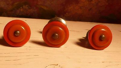 3 art deco TESTED bakelite metal Pull handles knobs 38 grams-0,083 lb (s14175)