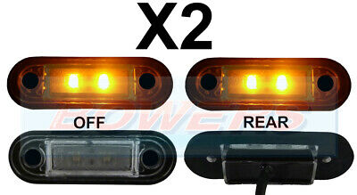 2 x 12V/24V FLUSH FIT AMBER LED SIDE MARKER LAMPS / LIGHTS TRUCK VAN KELSA BAR