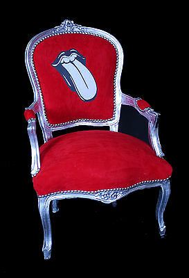 French Louis Armchair Silver Red Rolling Stones Antique Recover Upcycle