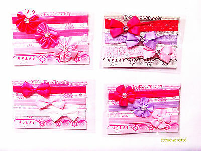 Baby Girl 3 Pack Headbands Various Designs All With Stretchy Bands
