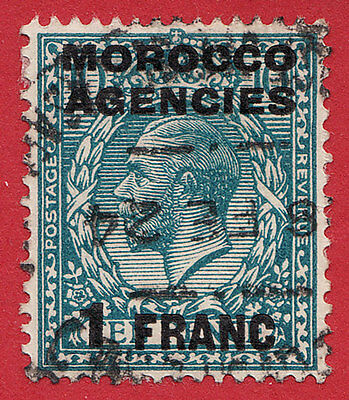 MOROCCO AGENCIES  1917 1f ON 10d TURQUOISE  BLUE  SG199 GU