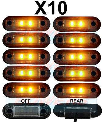 10 x 12V/24V FLUSH FIT AMBER LED SIDE MARKER LAMPS / LIGHTS TRUCK VAN KELSA BAR