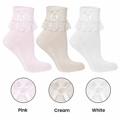 Formal Wear Jester Socks With Lace Frill For Babies And Girls Various Sizes