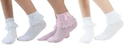 Chic Wedding Baptism Jester Socks With Lace Frill For Girls Women Sizes Spring