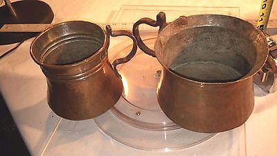 TWO Antique Copper Hand Hammered & Forged Handle Drinking Vessel Jug Mug Early