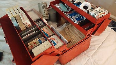 Vintage 1970s Industrial First Aid Kit Hinged Case Fold out PAcked Emergency H2o