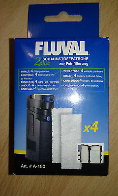 Fluval 2+ Plus Polyester Filter Pad Pack of 4 Genuine Replacement Pads a-190 • EUR 6,01