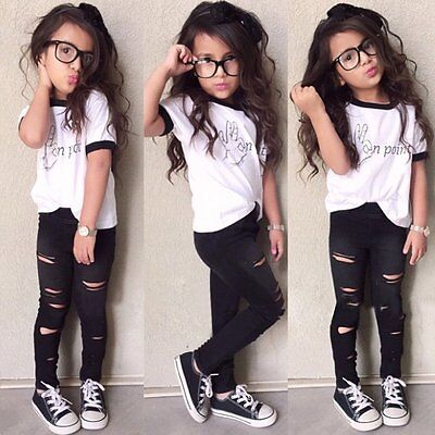 2PCS Toddler Kids Baby Girls Clothes T-shirt Tops + Hole Long Pants Outfits Set