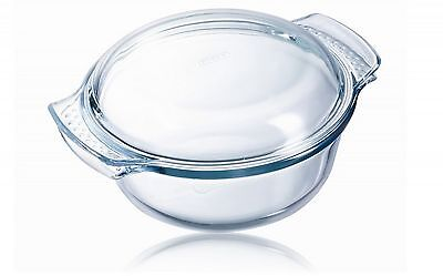 Pyrex Clear Glass Round Casserole With Covered Lid & Handles, 1.0L