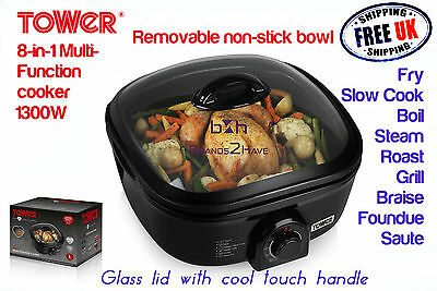 Tower T14003 8 in1 Multi Cooker Grill Roast Slow Cook Boil Keep Warm recipe book