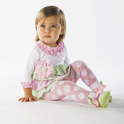 Toddler Girl's Seersucker Dress Matching Tights Attached Ankle Socks Mud Pie