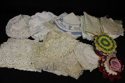 Lot of 100 Vintage Doilies Crocheted, Cotton, Linen Excellent+ 1940's-80's (4)