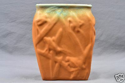 Muncie Pottery Vase Green Drip Over Pumpkin Katydid (Shape 194-6) 2A, 1930's