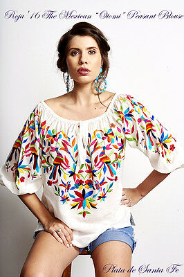 """ROJA '16 The Colorful Embroidered Mexican Inspired """"OTOMI"""" Peasant Blouse!"""