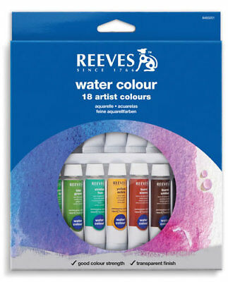Reeves Watercolours Paints 12mL Tubes 18 Pack