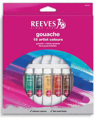 Reeves Gouache Colours 10mL Tubes 18 Pack