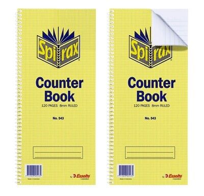 Spirax 543 Counter Book Feint Ruled 397x135mm 120 Page - 10 Pack