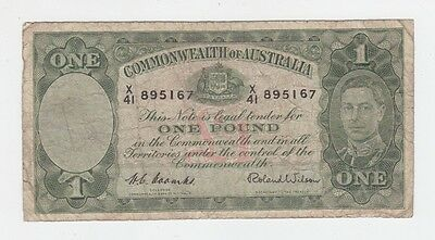 One Pound Paper Banknote Commonwealth of Australia Coombs Wilson E-357