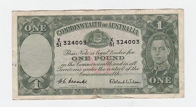 One Pound Paper Banknote Commonwealth of Australia Coombs Wilson E-370