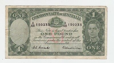 One Pound Paper Banknote Commonwealth of Australia Coombs Wilson E-369