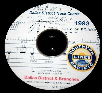 Southern Pacific Railroad 1993 Dallas District Track Chart PDF Pages on DVD