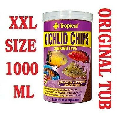 CICHLID CHIPS Colour-Enhancing Food for Malawi Tanganyika etc. 1000ML/520G-