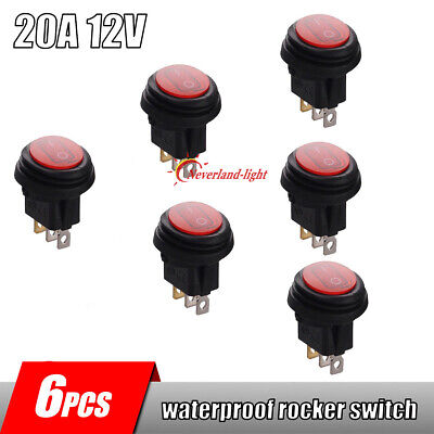 6x Rocker Switch 12V 20A Toggle On/Off IP65 Waterproof 3 Pin SPST Red LED Light