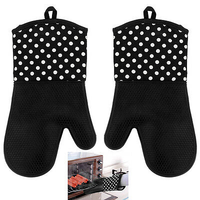 Mitts Gloves Kitchen Baking Microwave Oven Cooking Heat Resistant Silicone Black