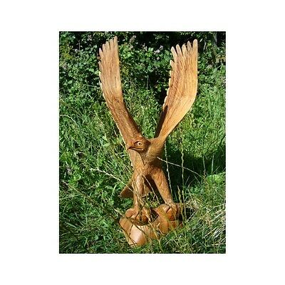 Fairtrade Natural Wooden Hunting Eagle Statue - 60cm