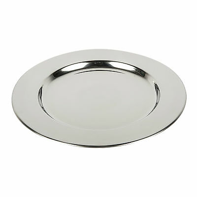 Set of 6 Stainless Steel Charger Plates 33 cm High Polished Thick