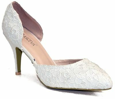 Ladies Womens Satin White Wedding Bridal Lace Cut Out Courts Shoes Size 3-8