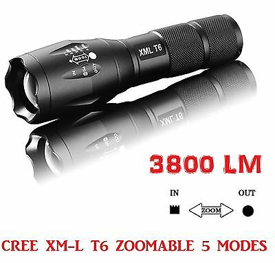 Zoomable 3800Lm Lumens LED Flashlight Hand Torch XML T6 Hiking Camping Light