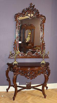Mahogany Console Table and Mirror Antique Style Hall Table Reproduction Mirror