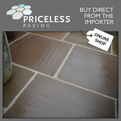 Natural Indian Sandstone Patio Paving Slabs Flags. Autumn Brown garden pavers