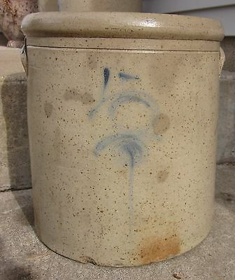 Antique Primitive 5 Gallon Red Wing(?) Salt Glaze Stoneware Crock Cobalt Target