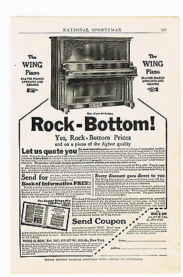 1911 Advertisement The Wing Piano, Player Pianos Upright And Grand