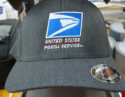 USPS, BASEBALL CAP  HAT, Flex Fit Yupoon UNITED STATES POSTAL. NAVY or Gray Wool