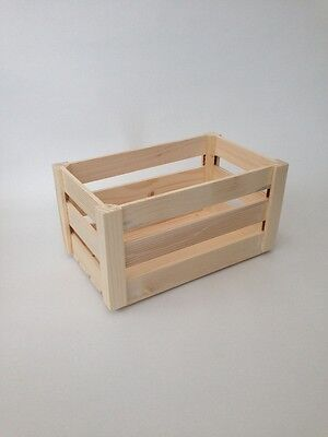 Natural Untreated Plain Wood Crate Storage Craft Box Set Vegetable Fruit Contain