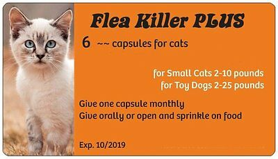 Flea Pills to Kill Fleas on Cats from 2-10 pounds ~~ 6 Orange Monthly Capsules
