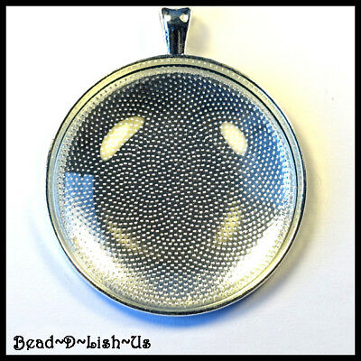 10pc x 38mm Round Pendant DIY KIT , Setting and Glass Cabochon - SILVER